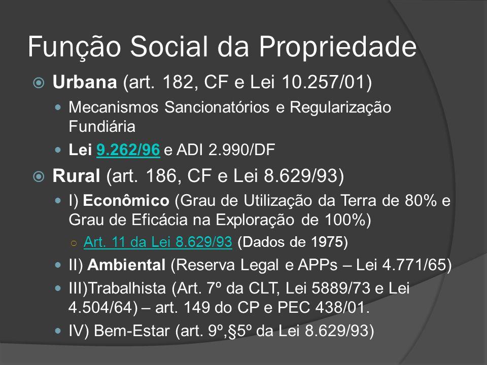 Função Social da Propriedade Urbana (art. 182, CF e Lei 10.257/01) Mecanismos Sancionatórios e Regularização Fundiária Lei 9.262/96 e ADI 2.990/DF9.26