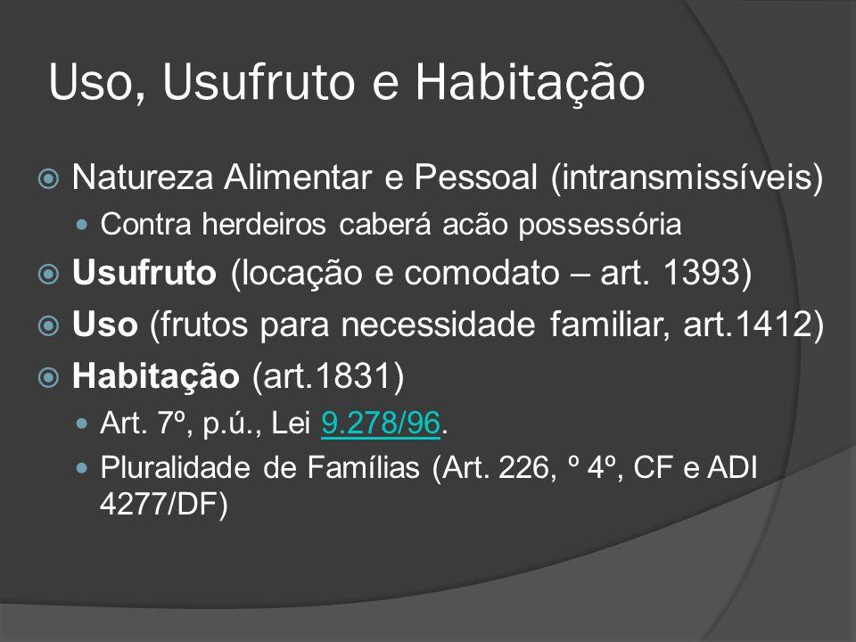 Uso, Usufruto e Habitação Natureza Alimentar e Pessoal (intransmissíveis) Contra herdeiros caberá acão possessória Usufruto (locação e comodato – art.