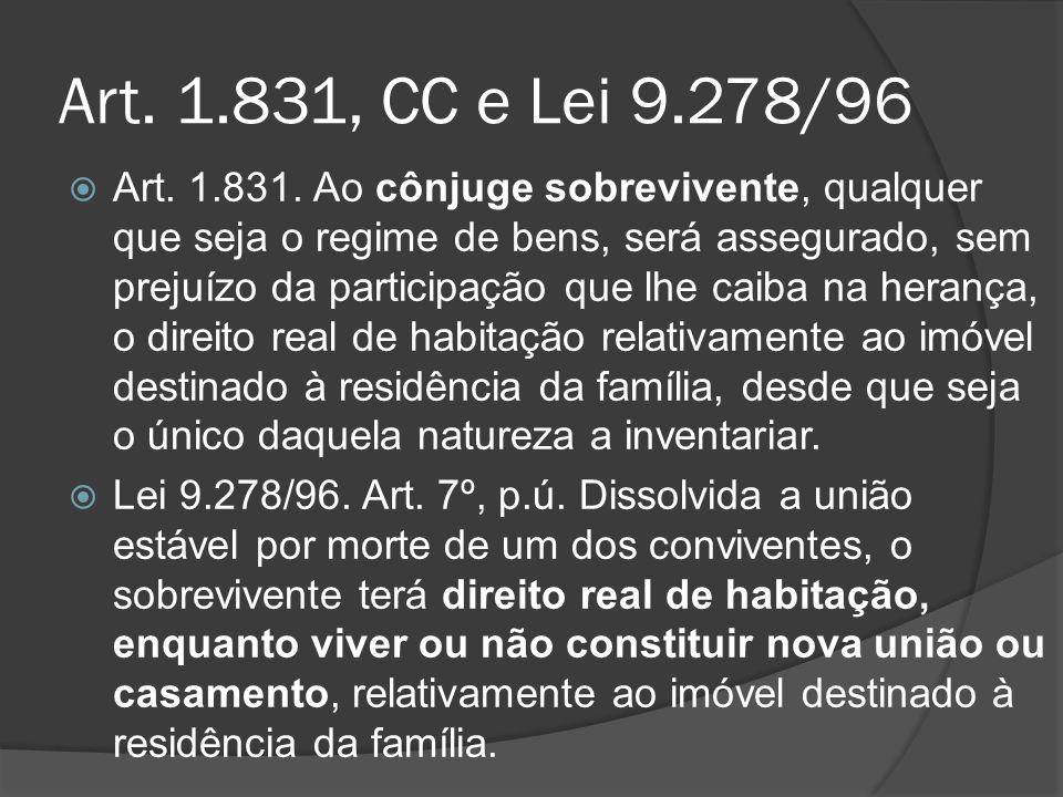 Art. 1.831, CC e Lei 9.278/96 Art. 1.831. Ao cônjuge sobrevivente, qualquer que seja o regime de bens, será assegurado, sem prejuízo da participação q