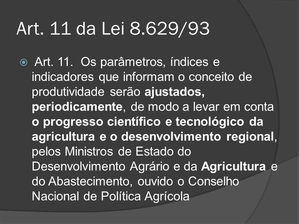 Art. 11 da Lei 8.629/93 Art. 11. Os parâmetros, índices e indicadores que informam o conceito de produtividade serão ajustados, periodicamente, de mod