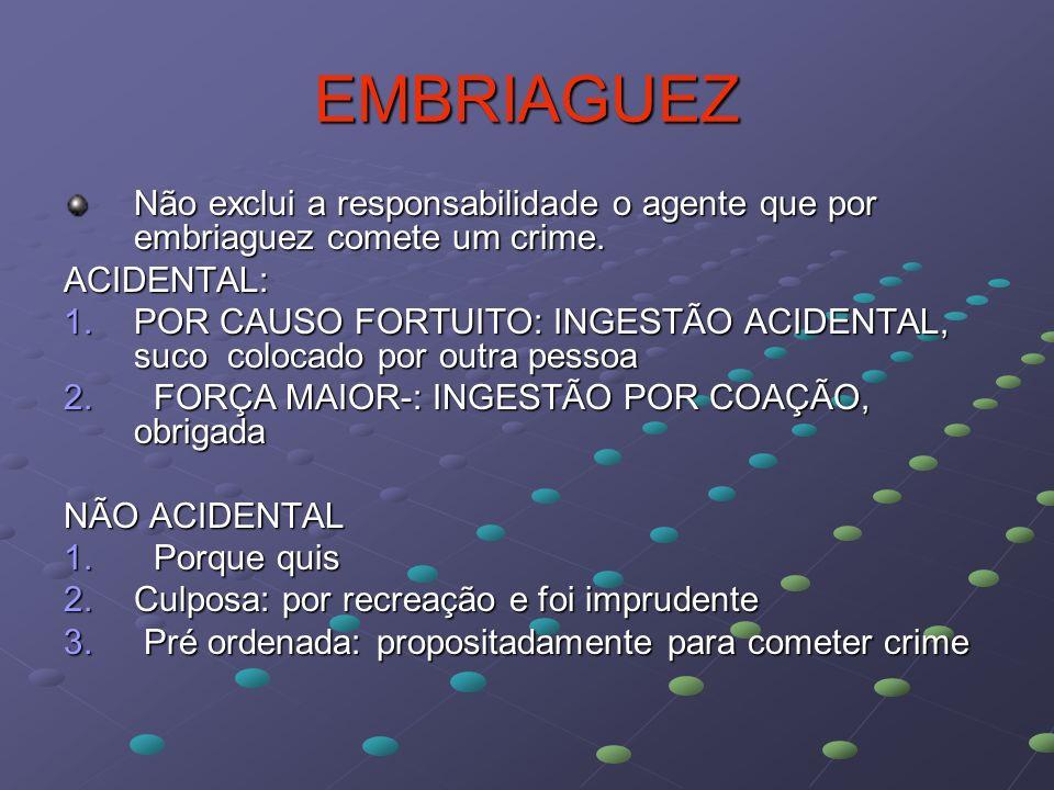EMBRIAGUEZ Não exclui a responsabilidade o agente que por embriaguez comete um crime. ACIDENTAL: 1.POR CAUSO FORTUITO: INGESTÃO ACIDENTAL, suco coloca