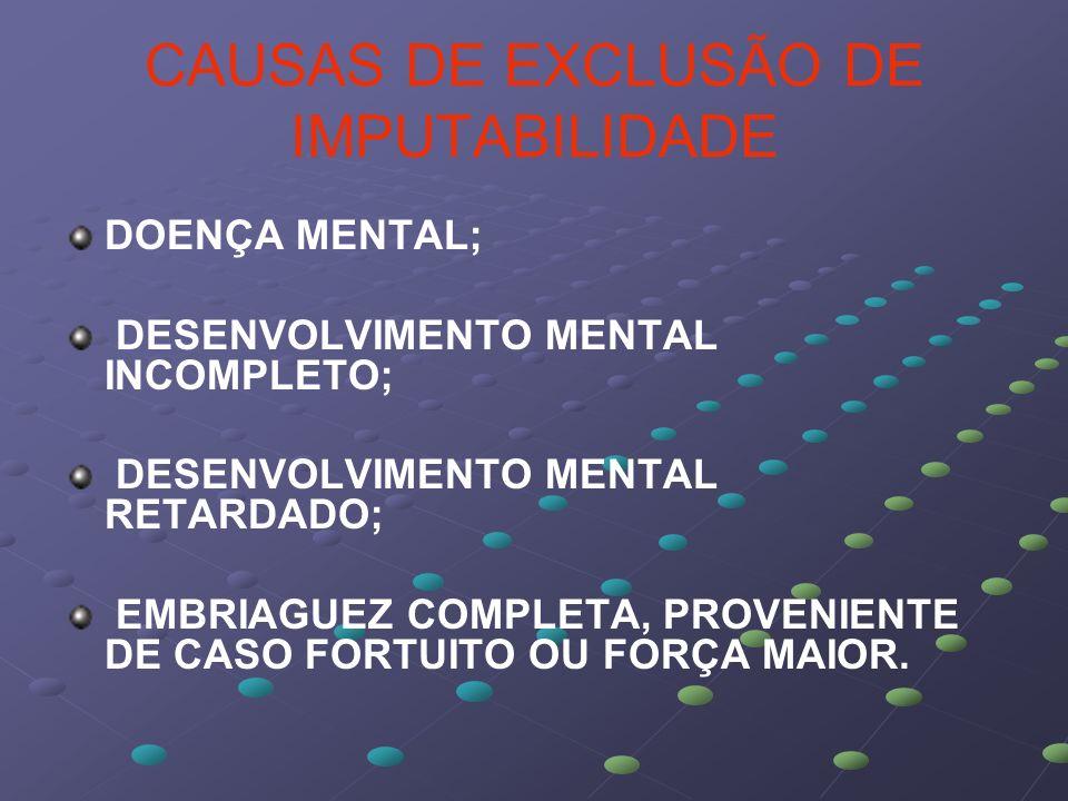 CAUSAS DE EXCLUSÃO DE IMPUTABILIDADE DOENÇA MENTAL; DESENVOLVIMENTO MENTAL INCOMPLETO; DESENVOLVIMENTO MENTAL RETARDADO; EMBRIAGUEZ COMPLETA, PROVENIE