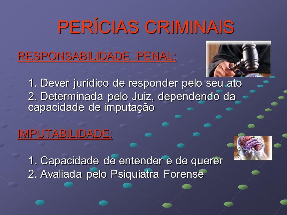 PERÍCIAS CRIMINAIS PERÍCIAS CRIMINAIS RESPONSABILIDADE PENAL: 1. Dever jurídico de responder pelo seu ato 2. Determinada pelo Juiz, dependendo da capa