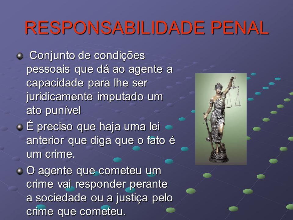 RESPONSABILIDADE PENAL Conjunto de condições pessoais que dá ao agente a capacidade para lhe ser juridicamente imputado um ato punível Conjunto de con