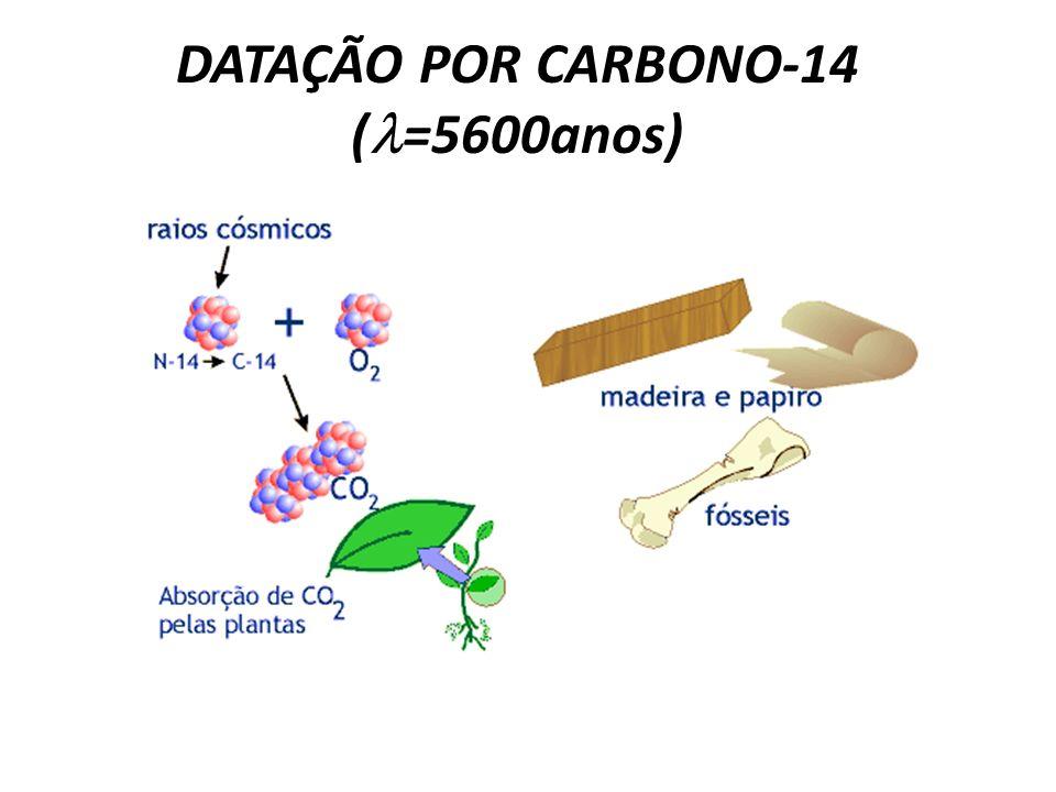 DATAÇÃO POR CARBONO-14 ( =5600anos)
