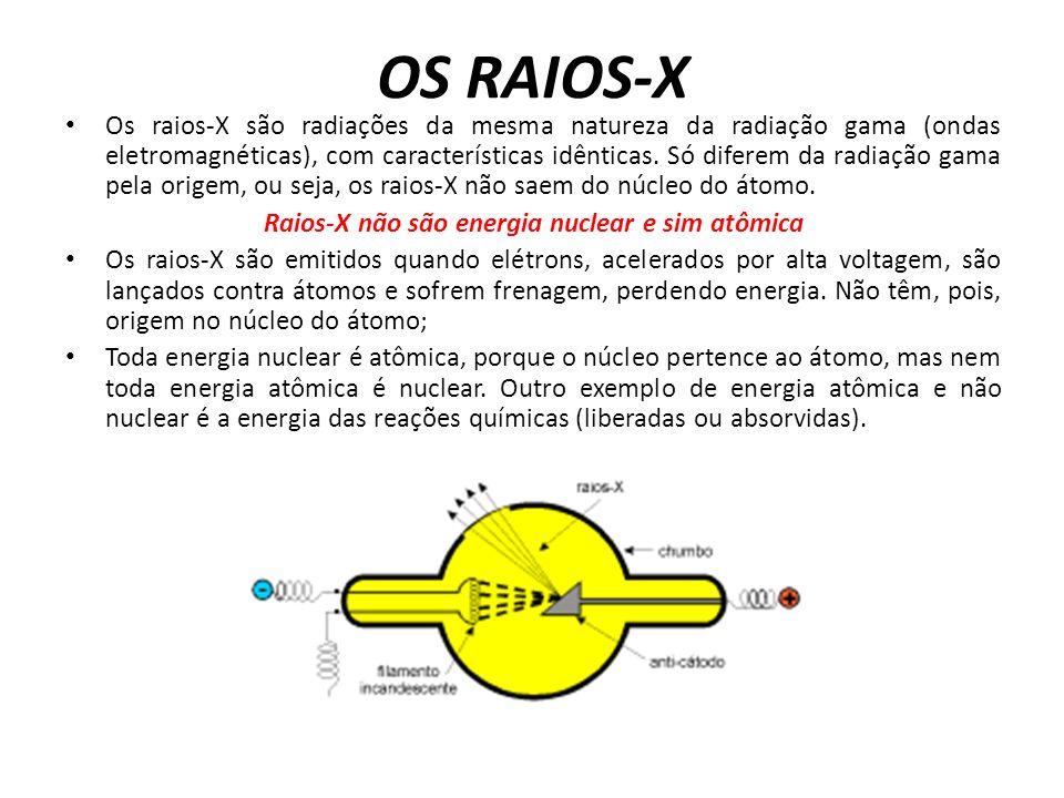 OS RAIOS-X Os raios-X são radiações da mesma natureza da radiação gama (ondas eletromagnéticas), com características idênticas.