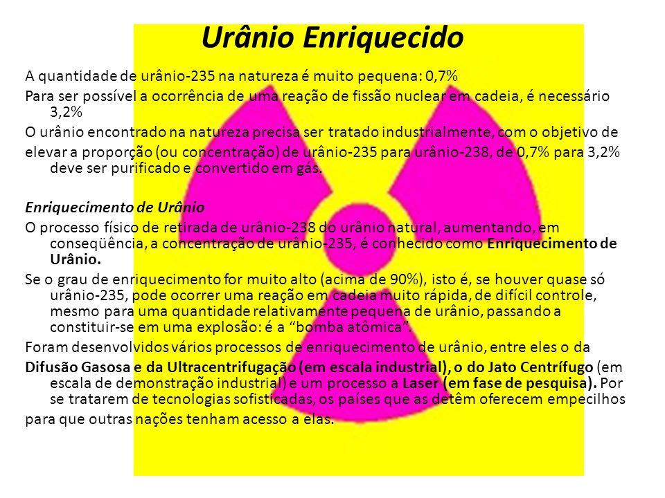 A quantidade de urânio-235 na natureza é muito pequena: 0,7% Para ser possível a ocorrência de uma reação de fissão nuclear em cadeia, é necessário 3,2% O urânio encontrado na natureza precisa ser tratado industrialmente, com o objetivo de elevar a proporção (ou concentração) de urânio-235 para urânio-238, de 0,7% para 3,2% deve ser purificado e convertido em gás.