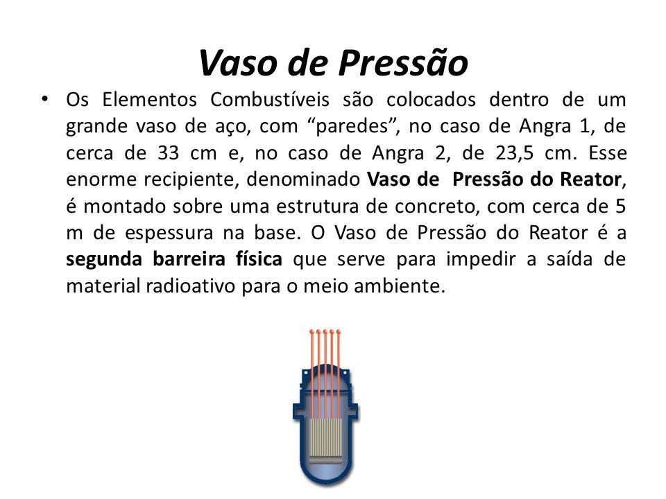 Vaso de Pressão Os Elementos Combustíveis são colocados dentro de um grande vaso de aço, com paredes, no caso de Angra 1, de cerca de 33 cm e, no caso de Angra 2, de 23,5 cm.