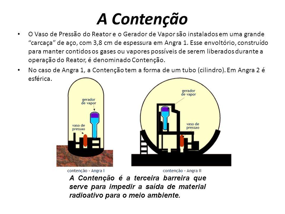 A Contenção O Vaso de Pressão do Reator e o Gerador de Vapor são instalados em uma grande carcaça de aço, com 3,8 cm de espessura em Angra 1.