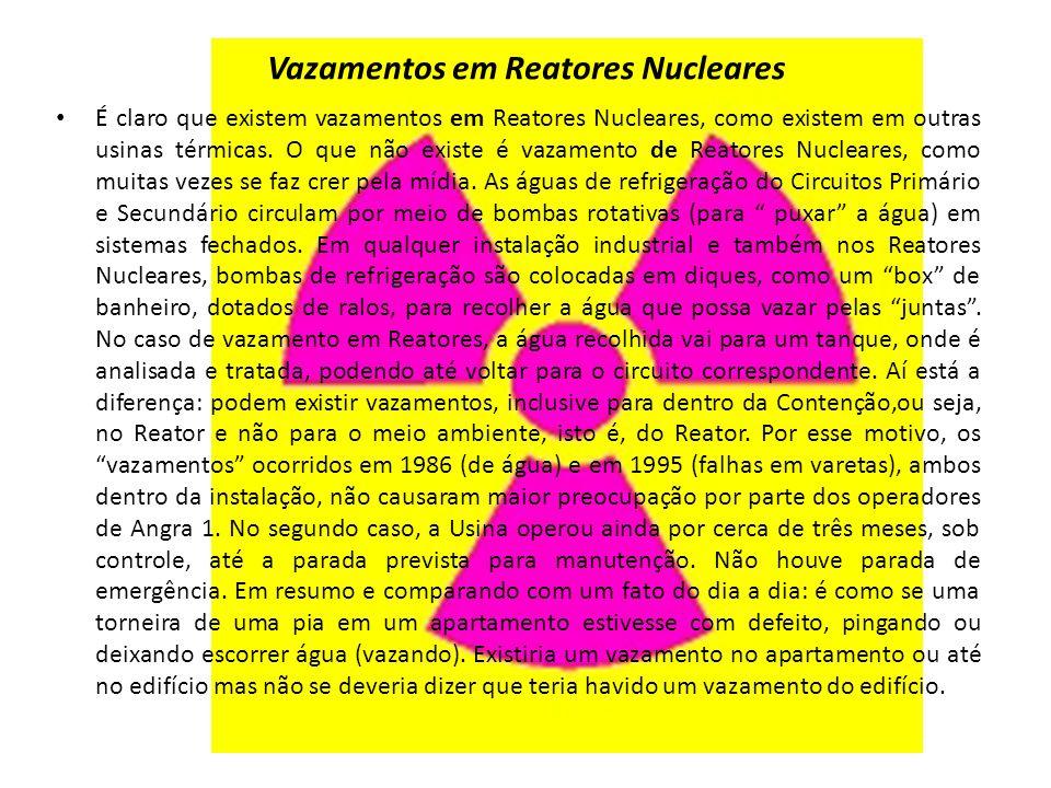 Vazamentos em Reatores Nucleares É claro que existem vazamentos em Reatores Nucleares, como existem em outras usinas térmicas.