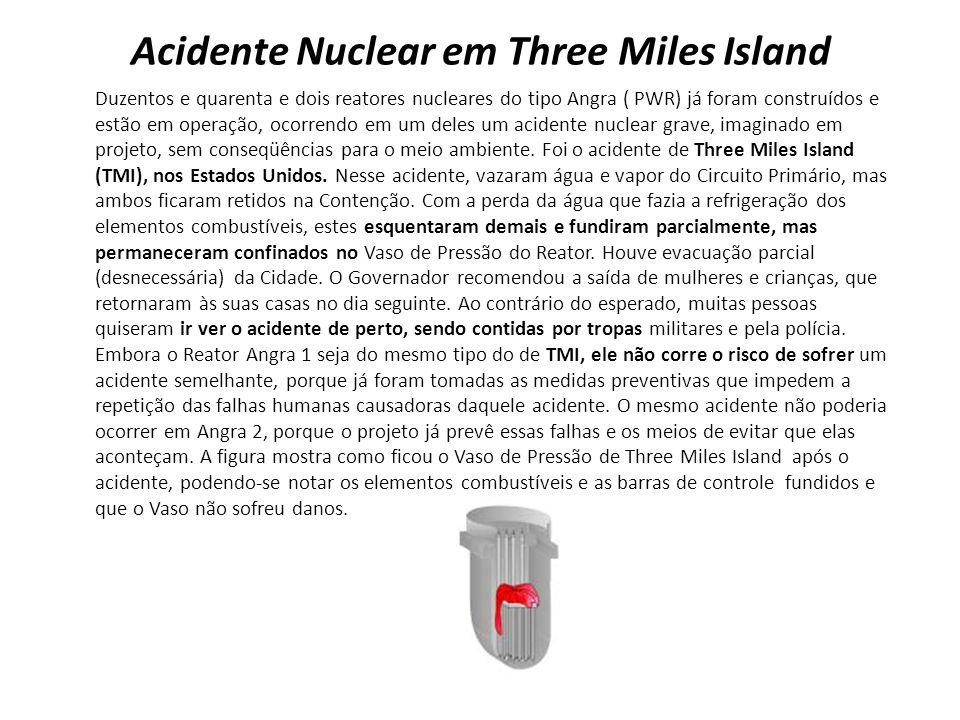 Acidente Nuclear em Three Miles Island Duzentos e quarenta e dois reatores nucleares do tipo Angra ( PWR) já foram construídos e estão em operação, ocorrendo em um deles um acidente nuclear grave, imaginado em projeto, sem conseqüências para o meio ambiente.