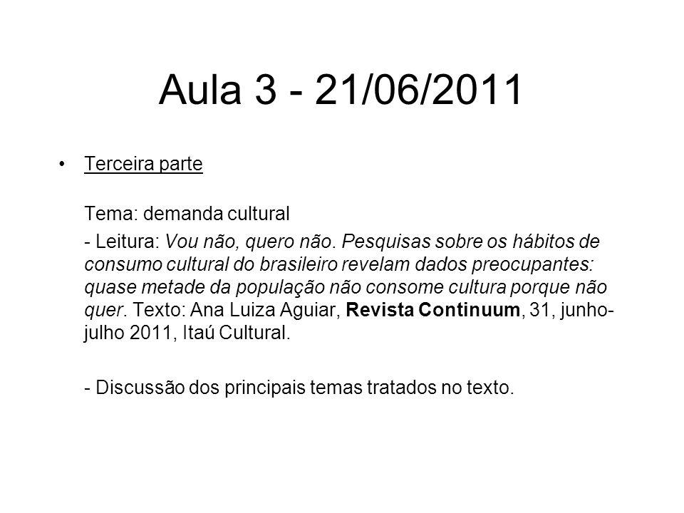Aula 3 - 21/06/2011 Terceira parte Tema: demanda cultural - Leitura: Vou não, quero não. Pesquisas sobre os hábitos de consumo cultural do brasileiro