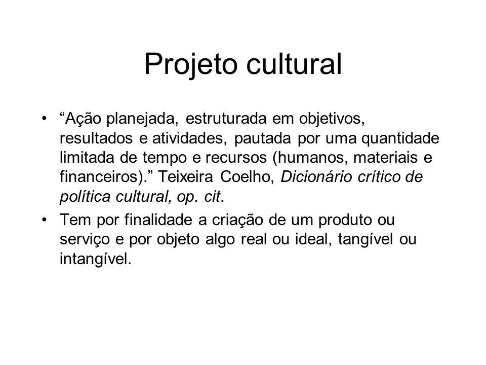 Projeto cultural Ação planejada, estruturada em objetivos, resultados e atividades, pautada por uma quantidade limitada de tempo e recursos (humanos,