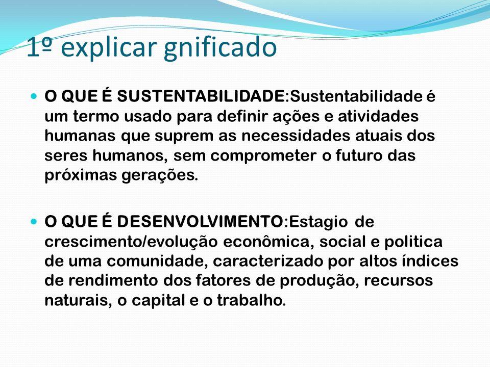 1º explicar gnificado O QUE É SUSTENTABILIDADE:Sustentabilidade é um termo usado para definir ações e atividades humanas que suprem as necessidades at