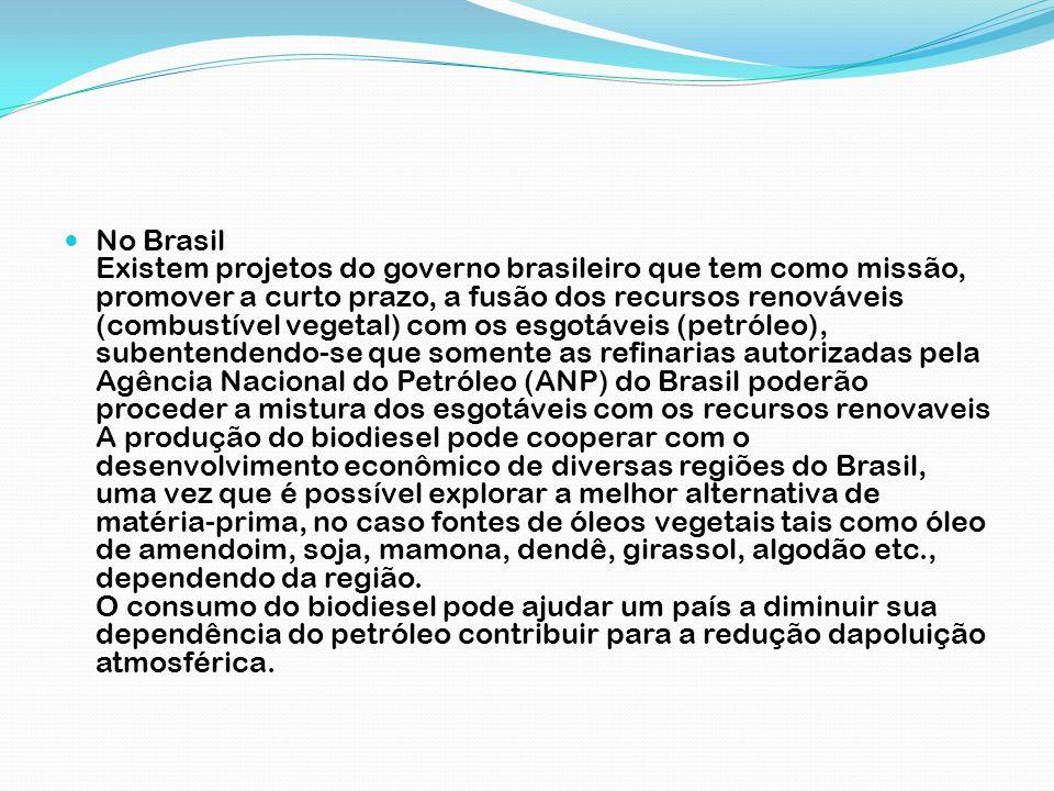 No Brasil Existem projetos do governo brasileiro que tem como missão, promover a curto prazo, a fusão dos recursos renováveis (combustível vegetal) co