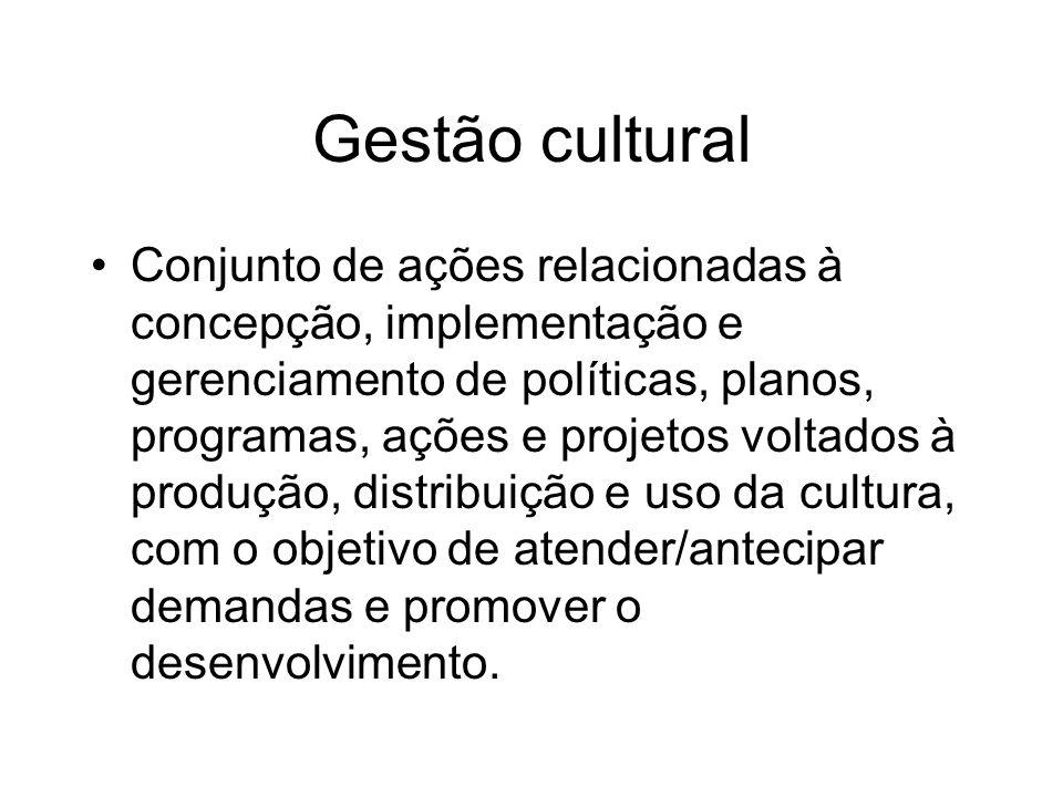 Gestão cultural Conjunto de ações relacionadas à concepção, implementação e gerenciamento de políticas, planos, programas, ações e projetos voltados à