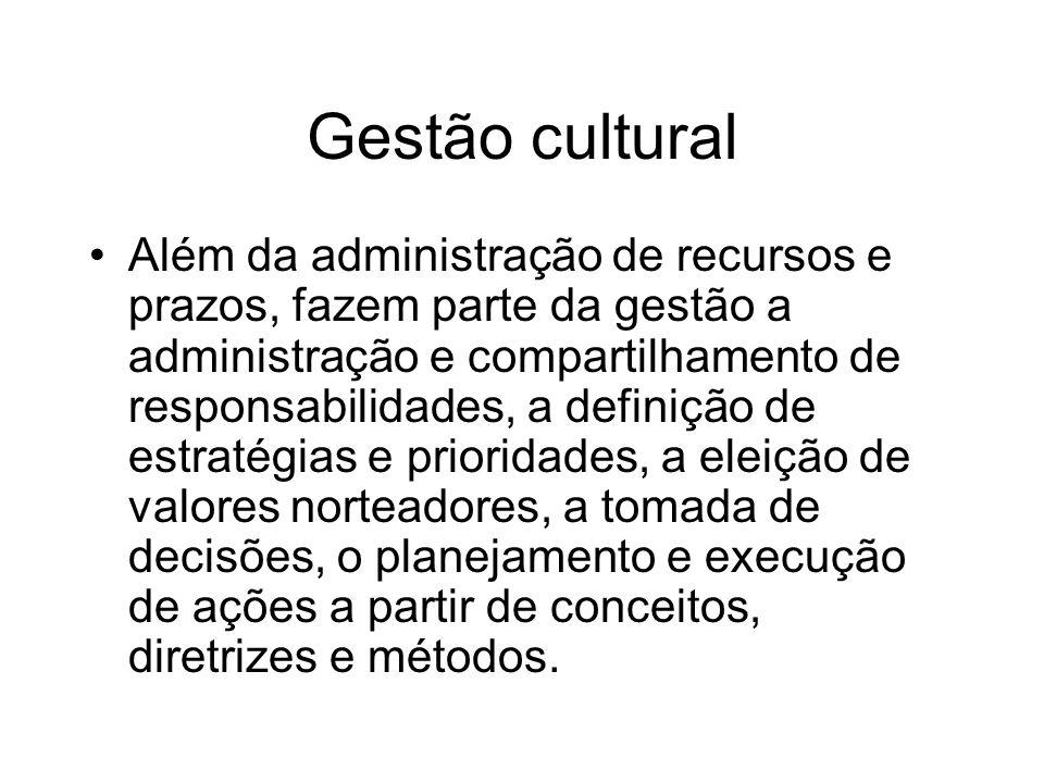 Gestão cultural Além da administração de recursos e prazos, fazem parte da gestão a administração e compartilhamento de responsabilidades, a definição