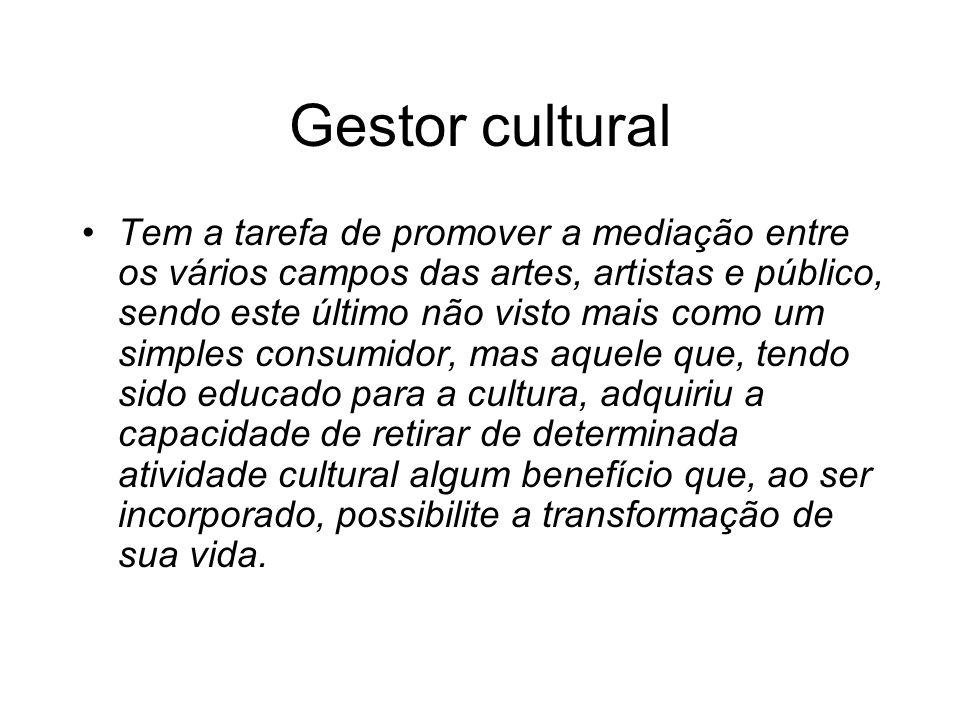 Gestor cultural Tem a tarefa de promover a mediação entre os vários campos das artes, artistas e público, sendo este último não visto mais como um sim