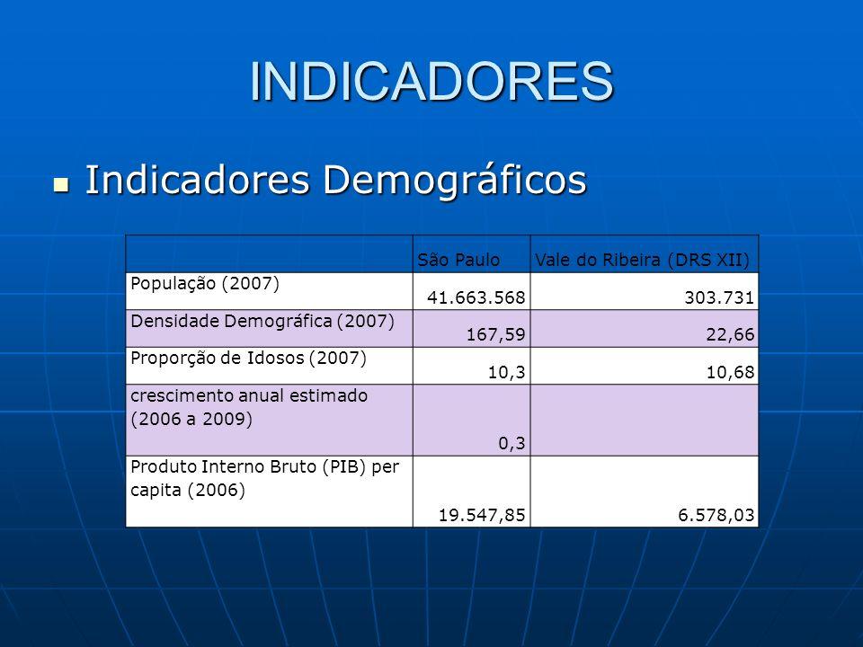 INDICADORES Indicadores Demográficos Indicadores Demográficos São PauloVale do Ribeira (DRS XII) População (2007) 41.663.568303.731 Densidade Demográf
