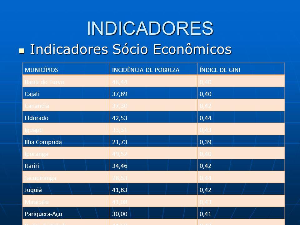 INDICADORES Indicadores Sócio Econômicos Indicadores Sócio Econômicos MUNICÍPIOSINCIDÊNCIA DE POBREZAÍNDICE DE GINI Barra do Turvo48,440,40 Cajati37,8
