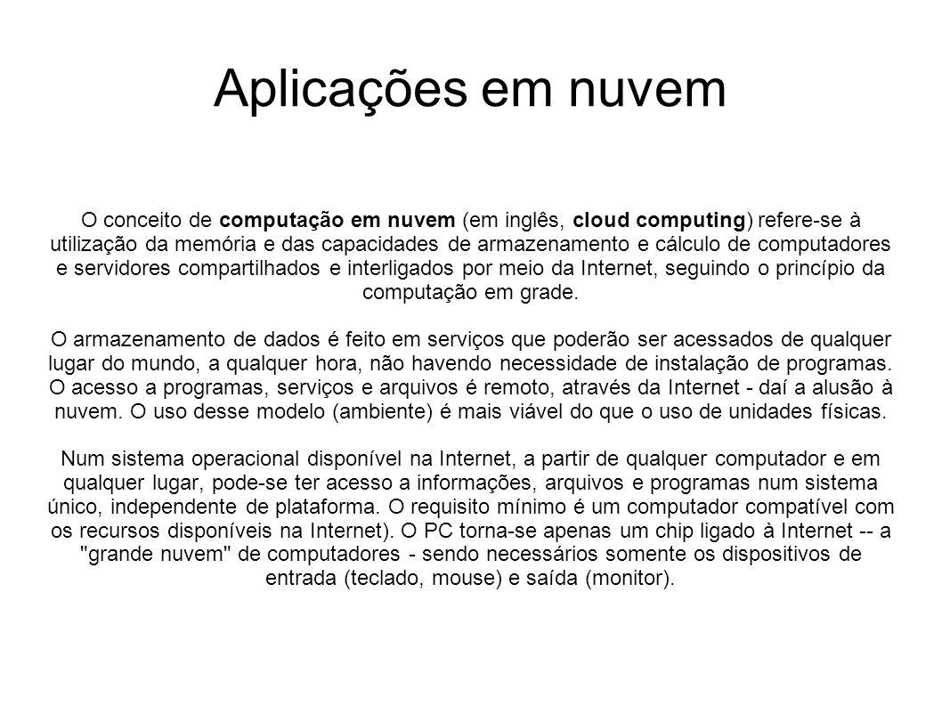Aplicações em nuvem O conceito de computação em nuvem (em inglês, cloud computing) refere-se à utilização da memória e das capacidades de armazenament