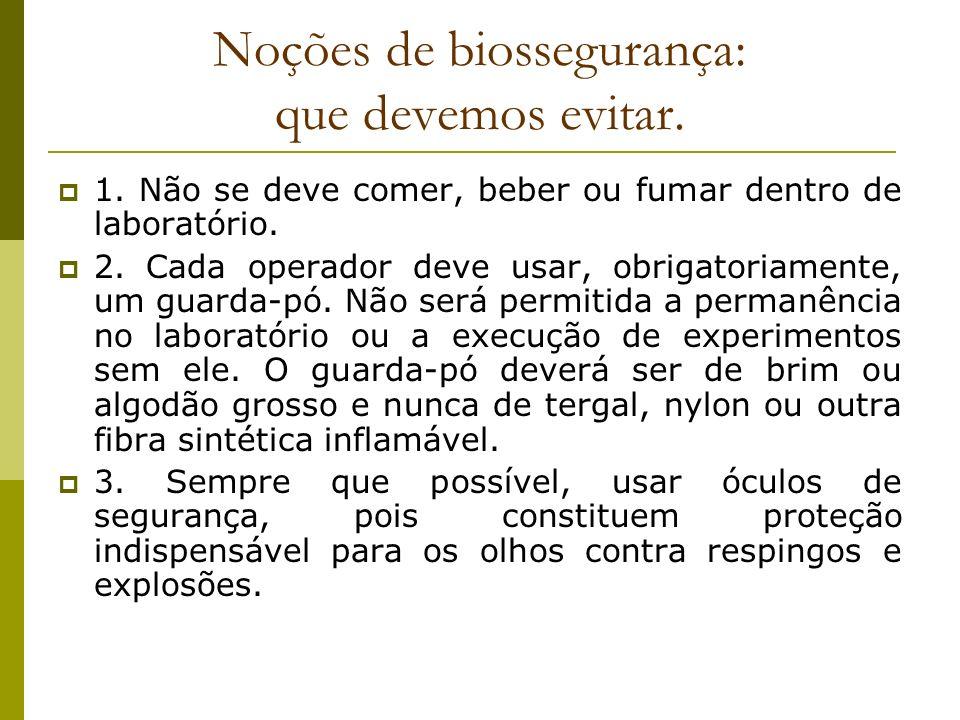Noções de biossegurança: que devemos evitar. 1. Não se deve comer, beber ou fumar dentro de laboratório. 2. Cada operador deve usar, obrigatoriamente,