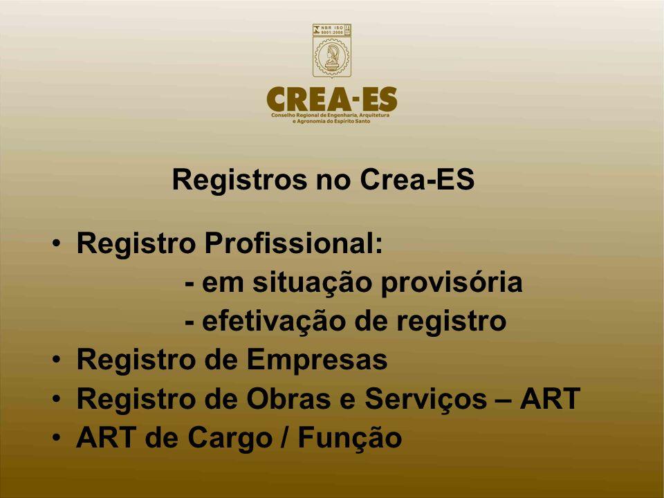 Registros no Crea-ES Registro Profissional: - em situação provisória - efetivação de registro Registro de Empresas Registro de Obras e Serviços – ART