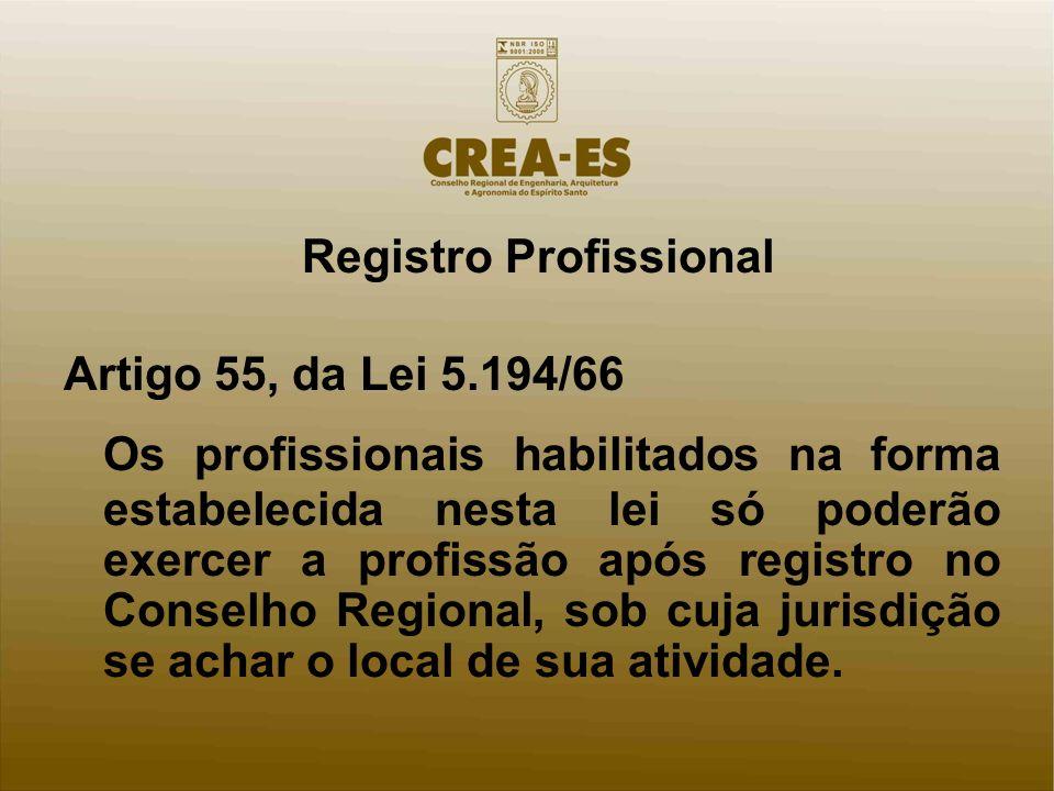 Registro Profissional Artigo 55, da Lei 5.194/66 Os profissionais habilitados na forma estabelecida nesta lei só poderão exercer a profissão após registro no Conselho Regiona l, sob cuja jurisdição se achar o local de sua atividade.