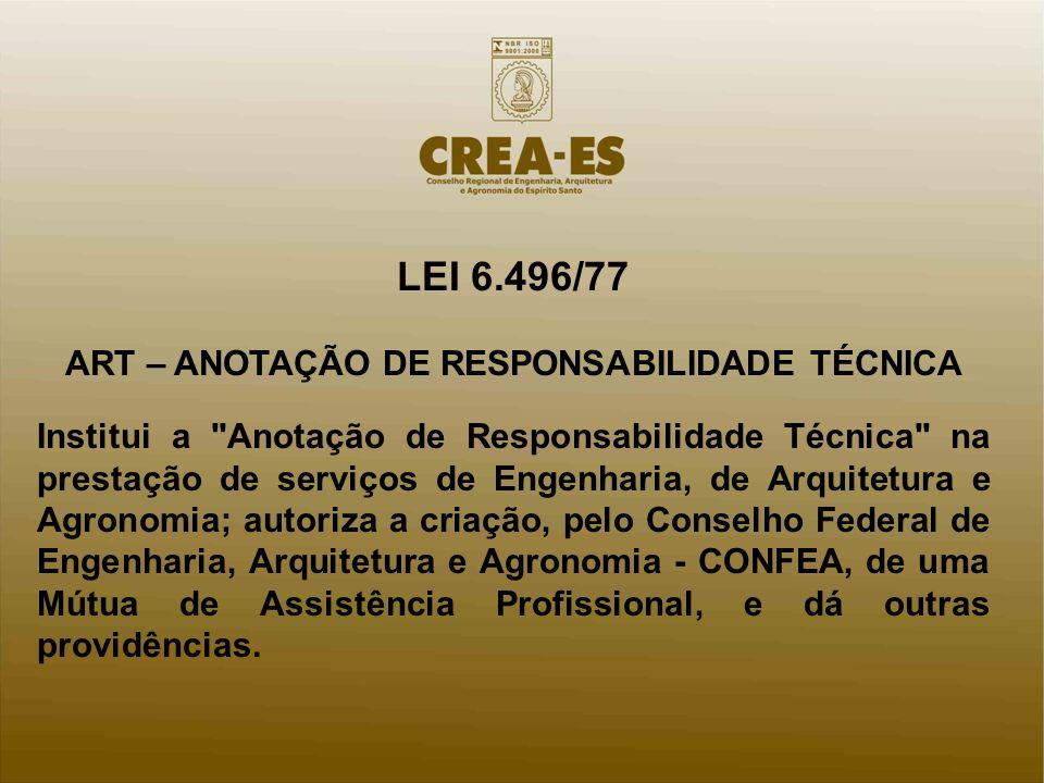LEI 6.496/77 ART – ANOTAÇÃO DE RESPONSABILIDADE TÉCNICA Institui a