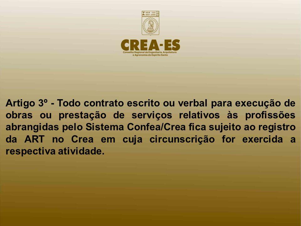 Artigo 3º - Todo contrato escrito ou verbal para execução de obras ou prestação de serviços relativos às profissões abrangidas pelo Sistema Confea/Cre