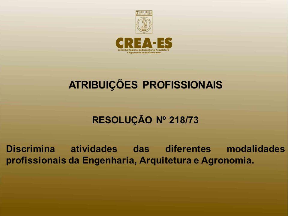 ATRIBUIÇÕES PROFISSIONAIS RESOLUÇÃO Nº 218/73 Discrimina atividades das diferentes modalidades profissionais da Engenharia, Arquitetura e Agronomia.