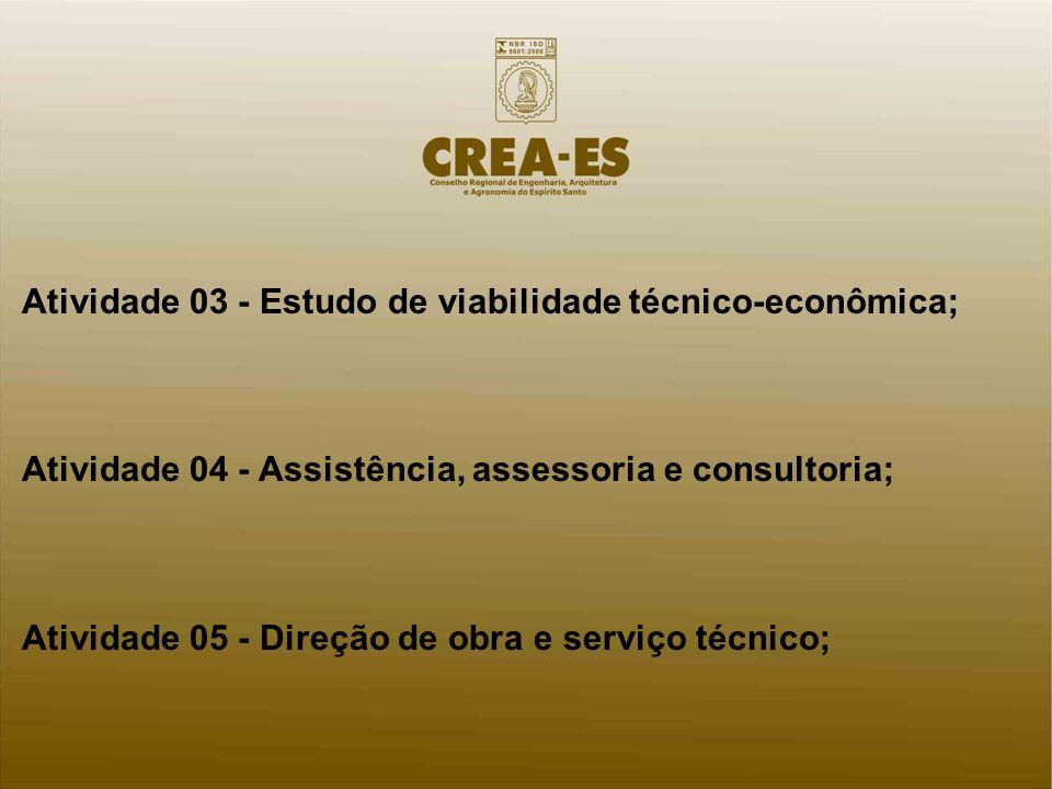 Atividade 03 - Estudo de viabilidade técnico-econômica; Atividade 04 - Assistência, assessoria e consultoria; Atividade 05 - Direção de obra e serviço técnico;