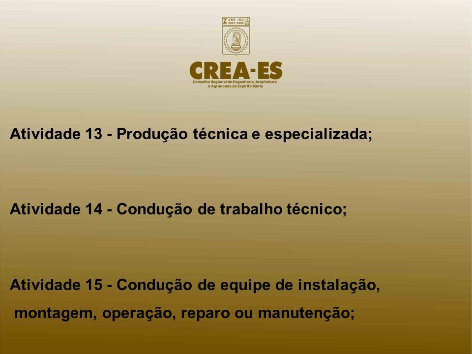 Atividade 13 - Produção técnica e especializada; Atividade 14 - Condução de trabalho técnico; Atividade 15 - Condução de equipe de instalação, montage