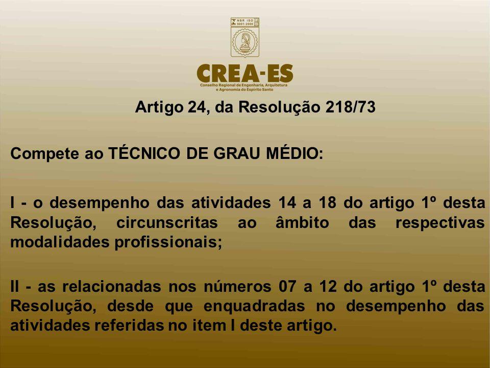 Artigo 24, da Resolução 218/73 Compete ao TÉCNICO DE GRAU MÉDIO: I - o desempenho das atividades 14 a 18 do artigo 1º desta Resolução, circunscritas a