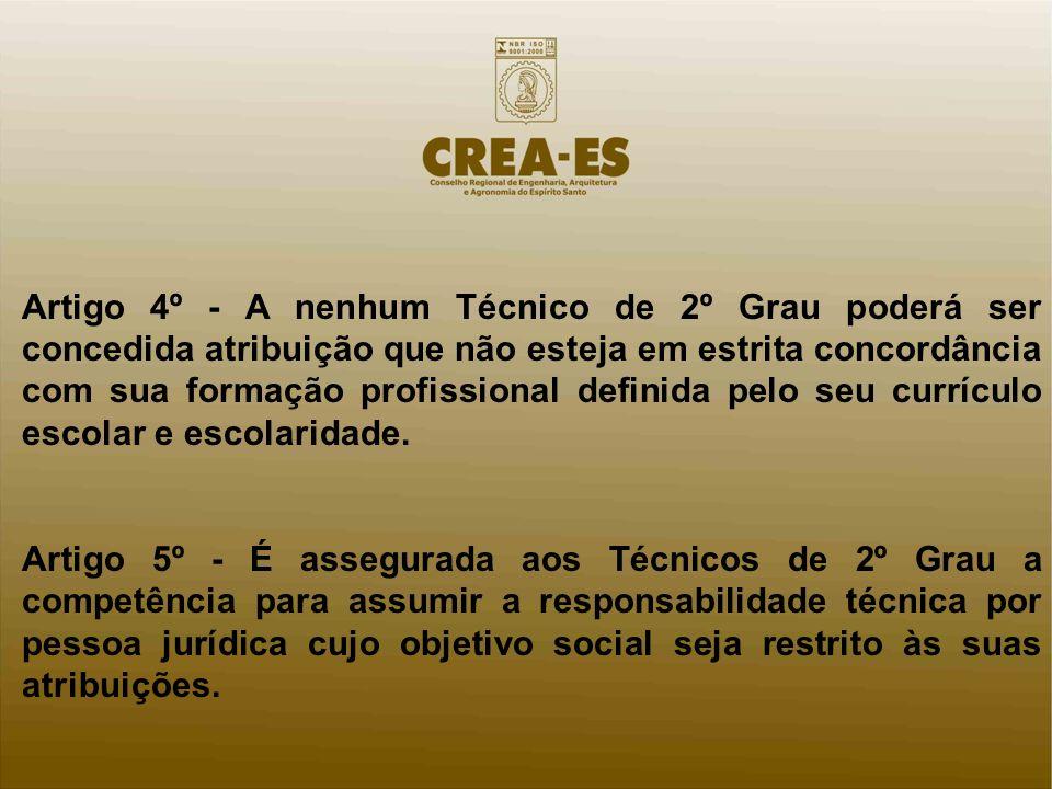 Artigo 4º - A nenhum Técnico de 2º Grau poderá ser concedida atribuição que não esteja em estrita concordância com sua formação profissional definida pelo seu currículo escolar e escolaridade.