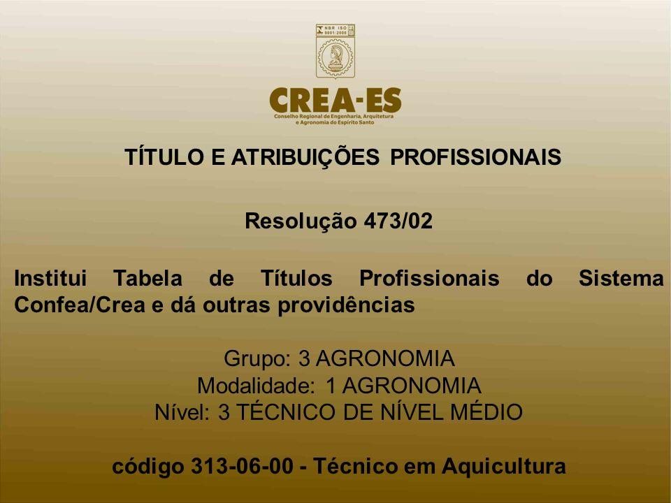 TÍTULO E ATRIBUIÇÕES PROFISSIONAIS Resolução 473/02 Institui Tabela de Títulos Profissionais do Sistema Confea/Crea e dá outras providências Grupo: 3 AGRONOMIA Modalidade: 1 AGRONOMIA Nível: 3 TÉCNICO DE NÍVEL MÉDIO código 313-06-00 - Técnico em Aquicultura.