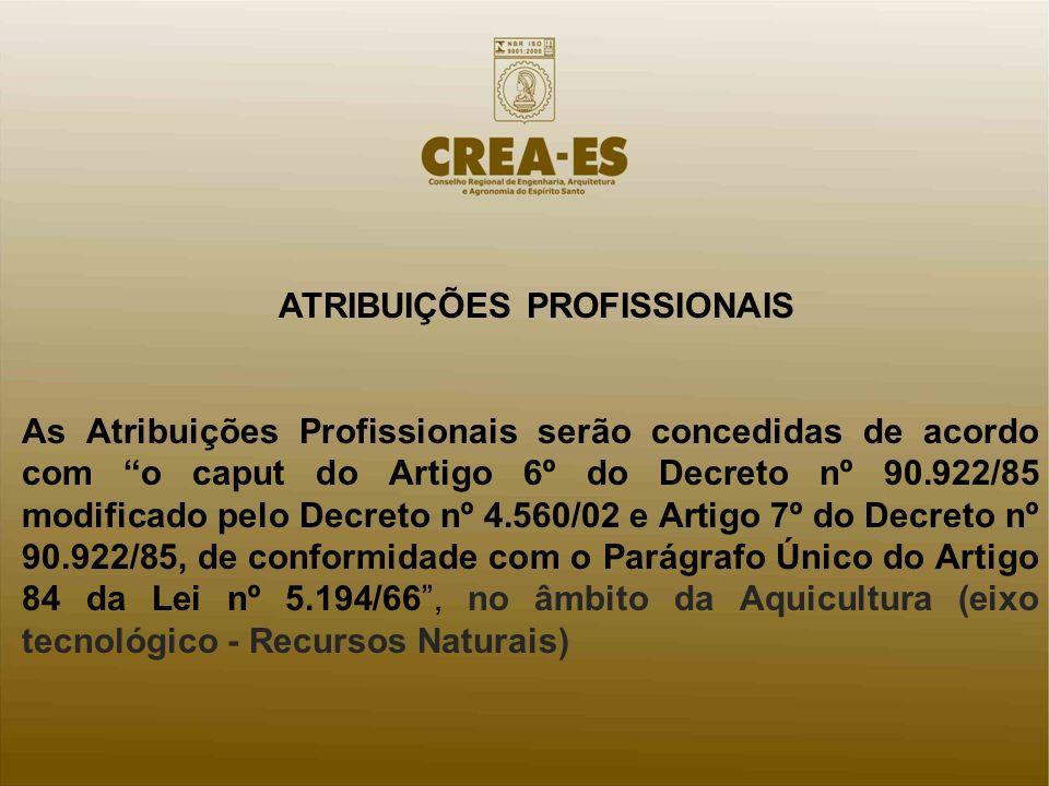 ATRIBUIÇÕES PROFISSIONAIS As Atribuições Profissionais serão concedidas de acordo com o caput do Artigo 6º do Decreto nº 90.922/85 modificado pelo Dec