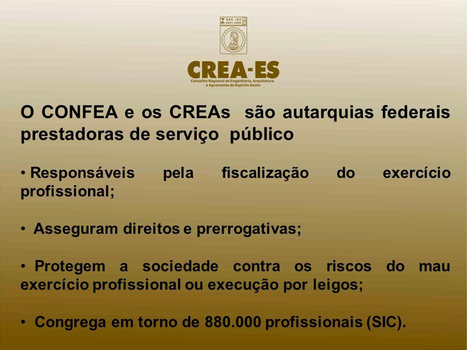 O CONFEA e os CREAs são autarquias federais prestadoras de serviço público Responsáveis pela fiscalização do exercício profissional; Asseguram direitos e prerrogativas; Protegem a sociedade contra os riscos do mau exercício profissional ou execução por leigos; Congrega em torno de 880.000 profissionais (SIC).