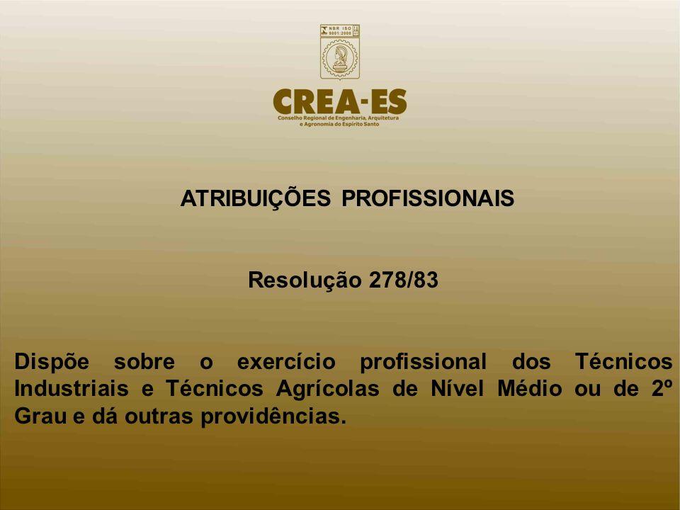ATRIBUIÇÕES PROFISSIONAIS Resolução 278/83 Dispõe sobre o exercício profissional dos Técnicos Industriais e Técnicos Agrícolas de Nível Médio ou de 2º