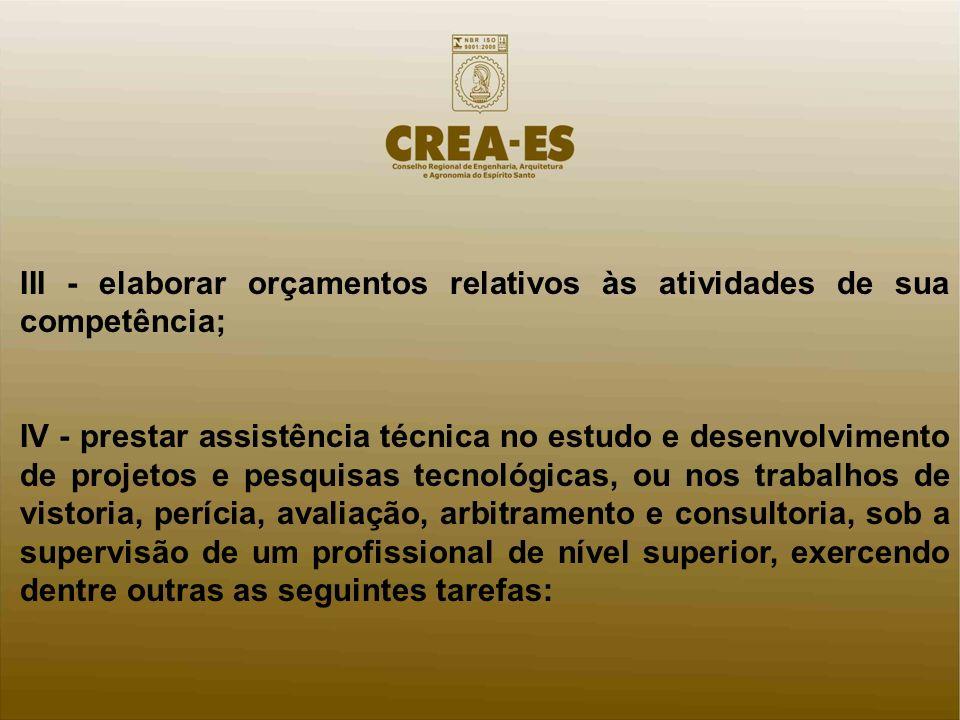 III - elaborar orçamentos relativos às atividades de sua competência; IV - prestar assistência técnica no estudo e desenvolvimento de projetos e pesqu