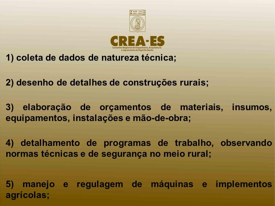 1) coleta de dados de natureza técnica; 2) desenho de detalhes de construções rurais; 3) elaboração de orçamentos de materiais, insumos, equipamentos,