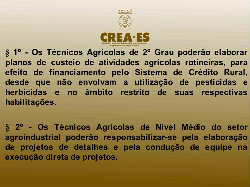 § 1º - Os Técnicos Agrícolas de 2º Grau poderão elaborar planos de custeio de atividades agrícolas rotineiras, para efeito de financiamento pelo Sistema de Crédito Rural, desde que não envolvam a utilização de pesticidas e herbicidas e no âmbito restrito de suas respectivas habilitações.