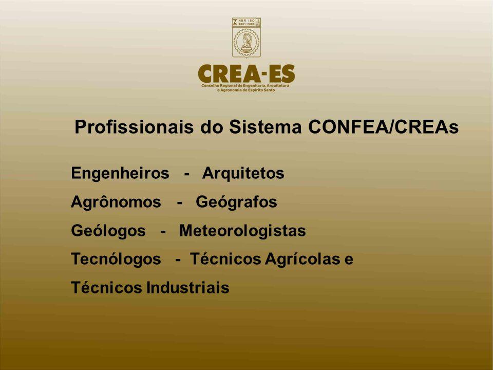 Profissionais do Sistema CONFEA/CREAs Engenheiros - Arquitetos Agrônomos - Geógrafos Geólogos - Meteorologistas Tecnólogos - Técnicos Agrícolas e Técnicos Industriais