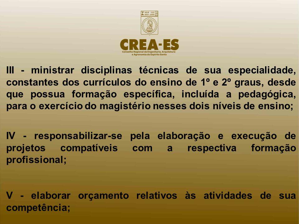 III - ministrar disciplinas técnicas de sua especialidade, constantes dos currículos do ensino de 1º e 2º graus, desde que possua formação específica,
