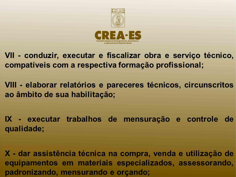 VII - conduzir, executar e fiscalizar obra e serviço técnico, compatíveis com a respectiva formação profissional; VIII - elaborar relatórios e parecer