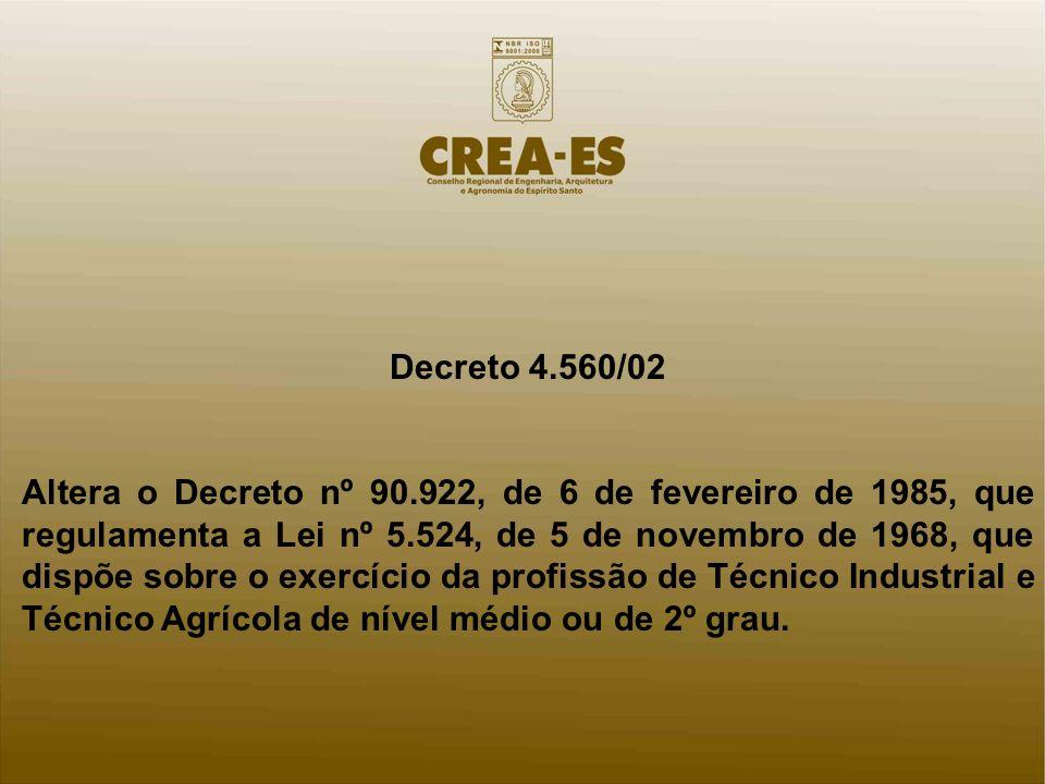 Decreto 4.560/02 Altera o Decreto nº 90.922, de 6 de fevereiro de 1985, que regulamenta a Lei nº 5.524, de 5 de novembro de 1968, que dispõe sobre o exercício da profissão de Técnico Industrial e Técnico Agrícola de nível médio ou de 2º grau.