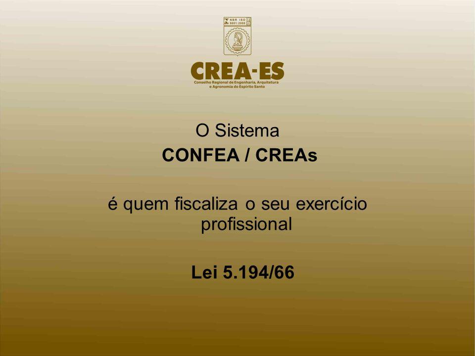 O Sistema CONFEA / CREAs é quem fiscaliza o seu exercício profissional Lei 5.194/66