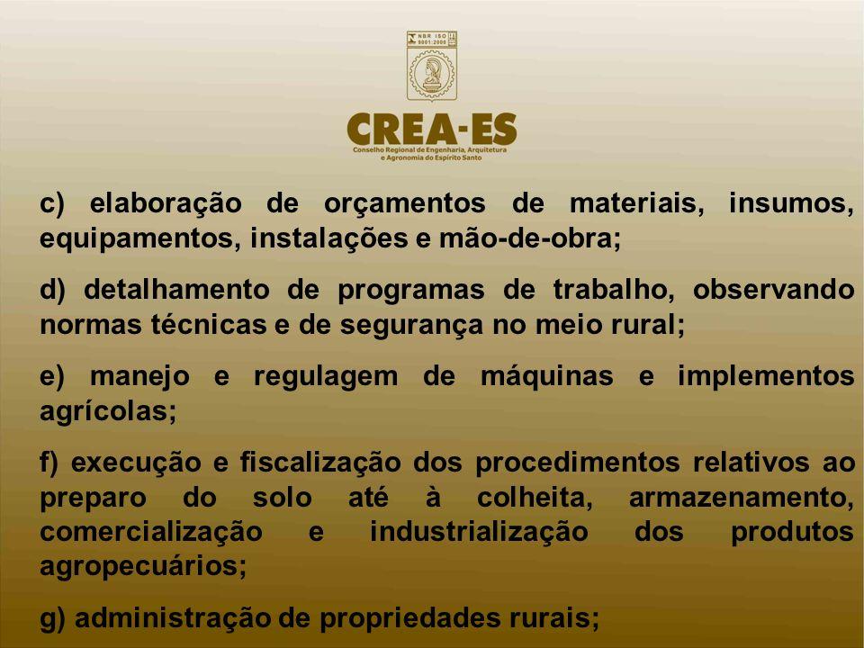 c) elaboração de orçamentos de materiais, insumos, equipamentos, instalações e mão-de-obra; d) detalhamento de programas de trabalho, observando norma