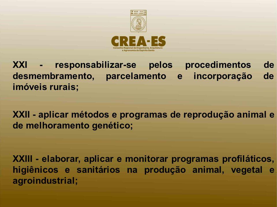 XXI - responsabilizar-se pelos procedimentos de desmembramento, parcelamento e incorporação de imóveis rurais; XXII - aplicar métodos e programas de r