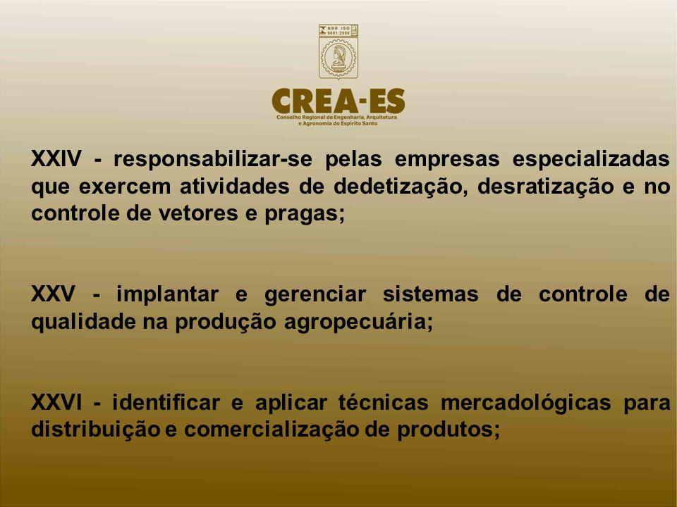XXIV - responsabilizar-se pelas empresas especializadas que exercem atividades de dedetização, desratização e no controle de vetores e pragas; XXV - i
